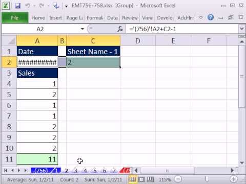 Excel Magic Trick 756: Create Sequential Dates Across Sheets & Extract Sheet Name To Cell