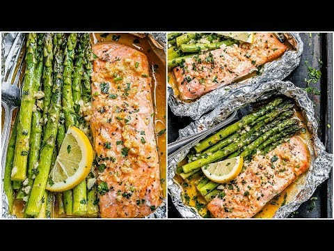 Foil Salmon and Asparagus in Garlic Butter Sauce Easy Salmon Recipe
