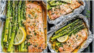 Foil Salmon and Asparagus in Garlic Butter Sauce - Easy Salmon Recipe