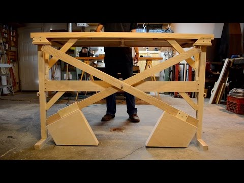 Counterweight standing desk, all wood, no motors!