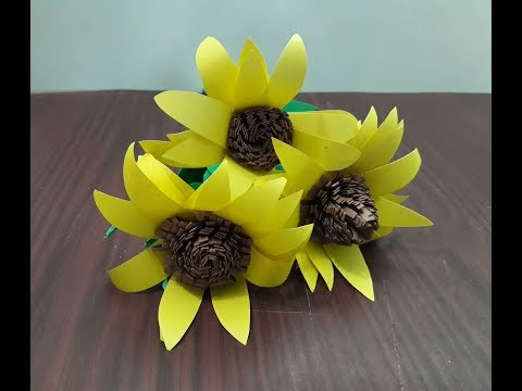 How to make Sunflower with paper/DIY Sunflower Craft / Summer Sunflower