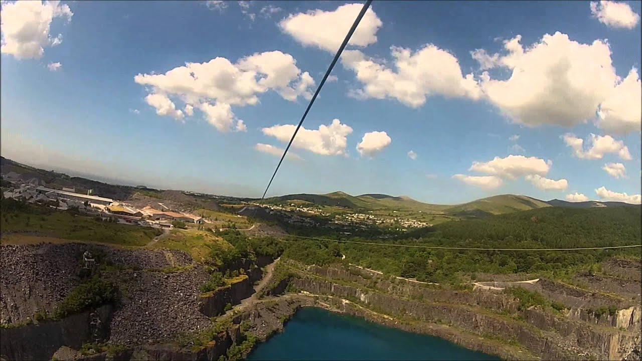 Europe\'s biggest and fastest zip wire, Zip World, Wales 19.07.2013 ...
