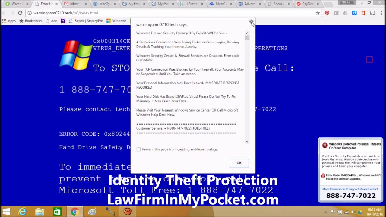 Escaping The Fake Computer Virus Warning on Webpage Trap and Scam video by  InHomeComputerHelp com