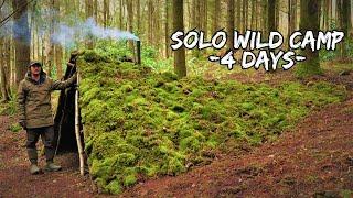 4 DAYS ALONE iฑ a PRIMITIVE WILD CAMP - Bushcraft Shelter - Foraging - Survival Solo Adventure
