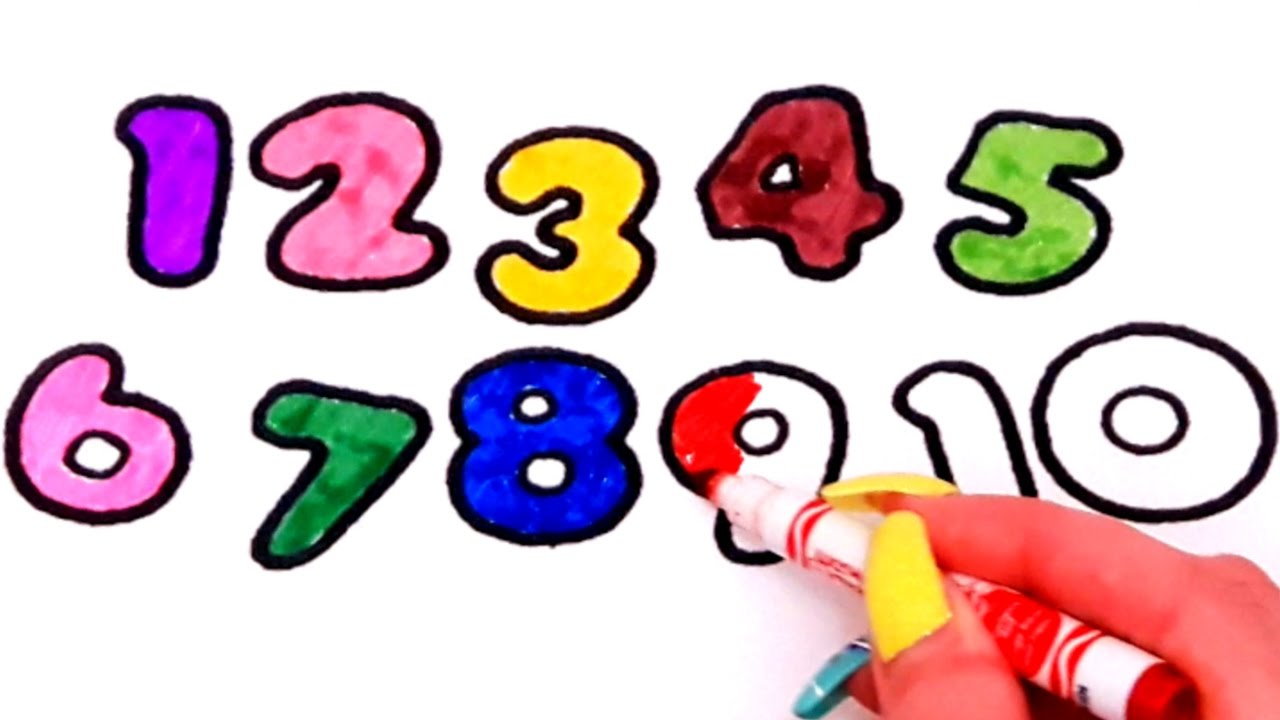learn colors and number for kids with coloring pages numbers