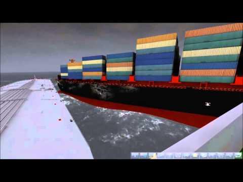 Ship Simulator 2008 - Bulk Carrier and Cargo Ship Collide ( Incredible Damage )