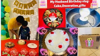 #MyHusband Birthday #vlog-White Forest #Pastry Cake with out oven-#Liquid dough recipe egg chapati