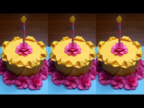 DIY CAKE FOR BIRTHDAY  ORIGAMI CAKE CRAFTS FOR PARTY DECORATION AT HOME