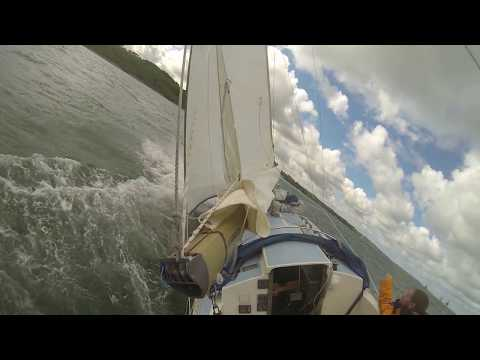 Westerly Centaur headed to Newtown Creek, tacking in strong wind