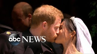 Harry, Markle take their first kiss as a married couple