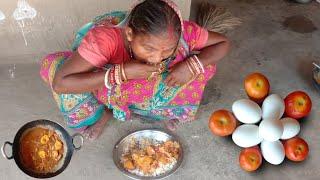 Egg Poached curry cooĸing by Santali tribe grandmother | how to cook Anda poached curry