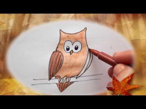 🦉-eule-malen---zeichnen-für-kinder---how-to-draw-an-owl---bird-drawing---как-рисовать-сову