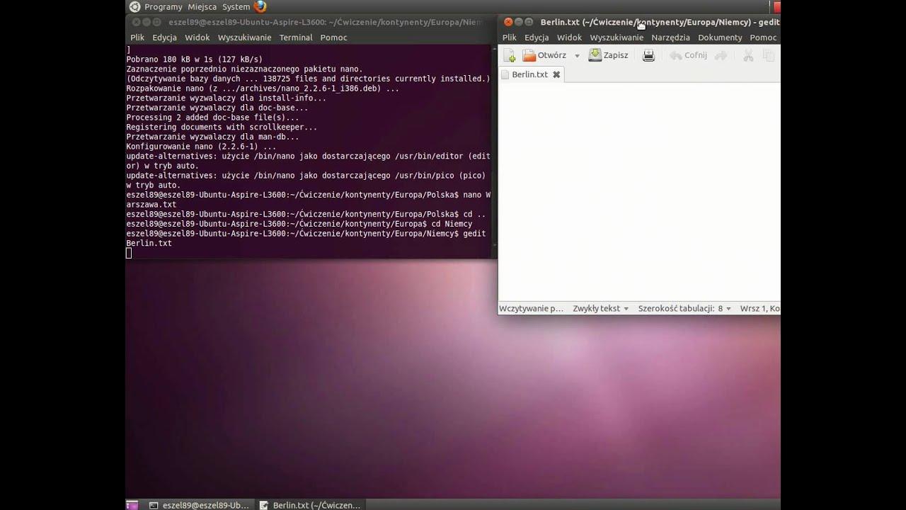 Eszel89pl ćwiczenie Poleceń W Terminalu Ubuntu