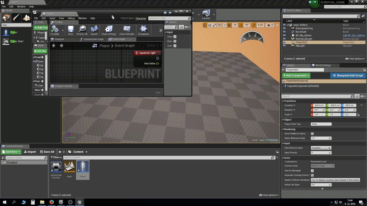UE4 Survival game tutorial PART 1: Project setup and character movement