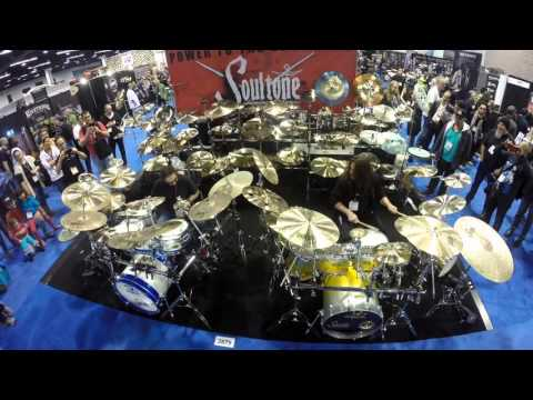 Nick Menza and Shawn Drover at Soultone cymbals NAMM 2016