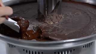 sephra melting solidified chocolate in a sephra fountain