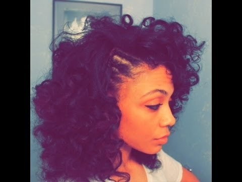 Curly Fro With Braided Side - YouTube
