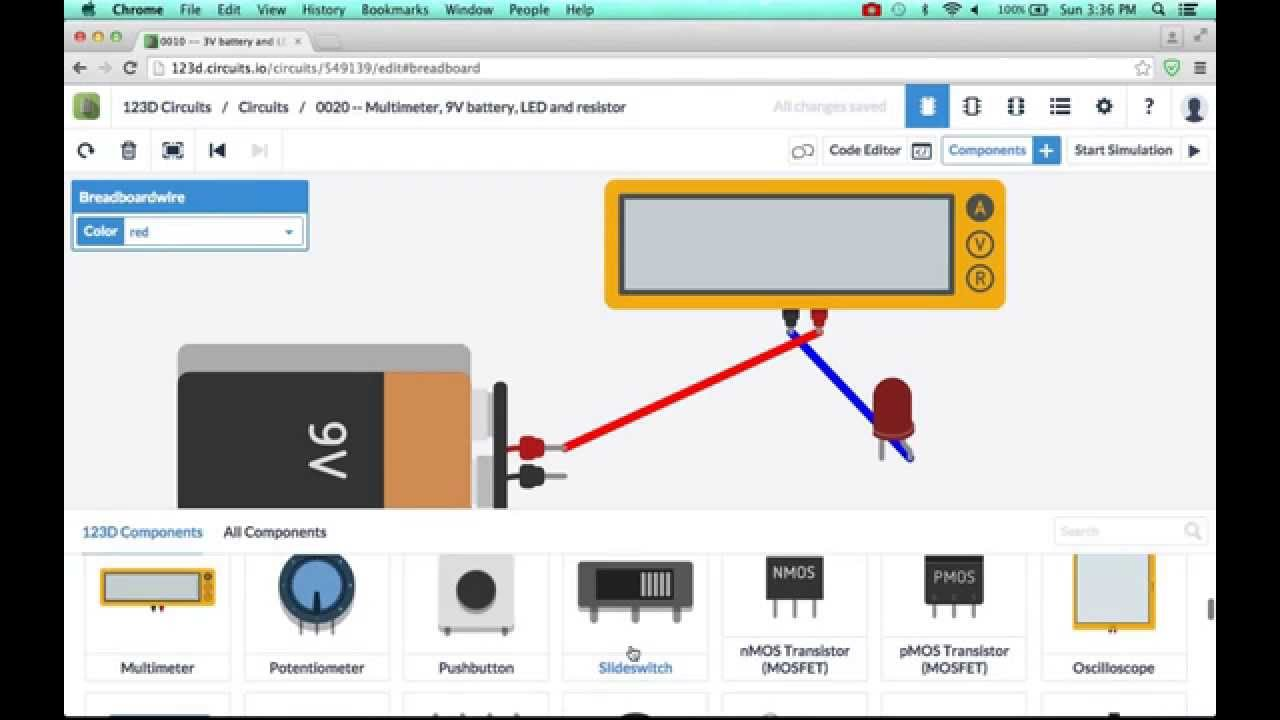 0030 -- Creating a 123D circuit with a multimeter, 9V battery, and ...