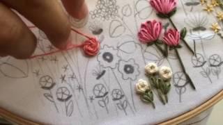 Tutorial de bordado – Ponto de caule e flor rosa