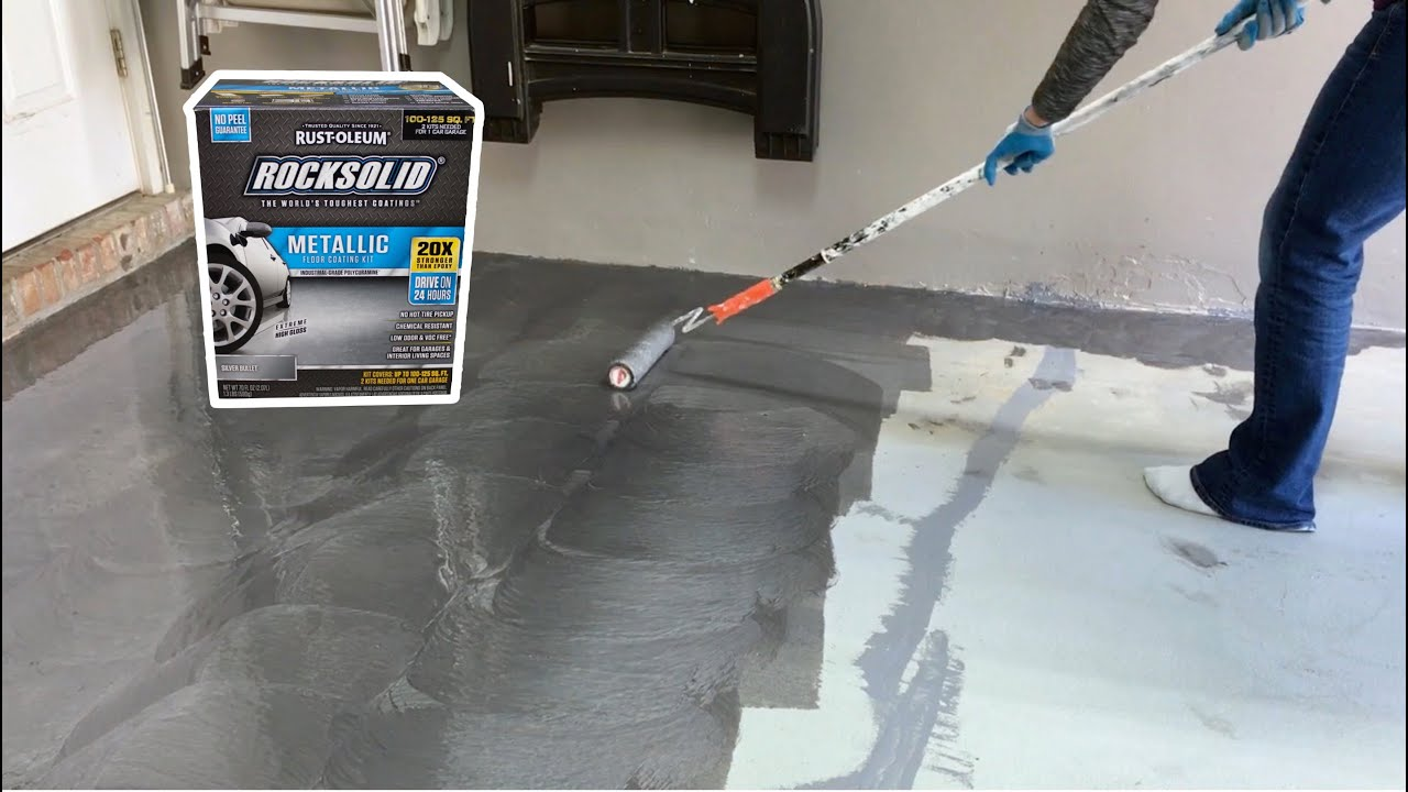 How To Install Rust Oleum Rocksolid Metallic Garage Floor Coating Part 2
