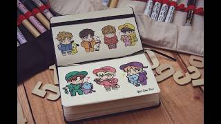 [BTS Fanart] Boys with BT21 Chibi speed Drawing - Roni Pool