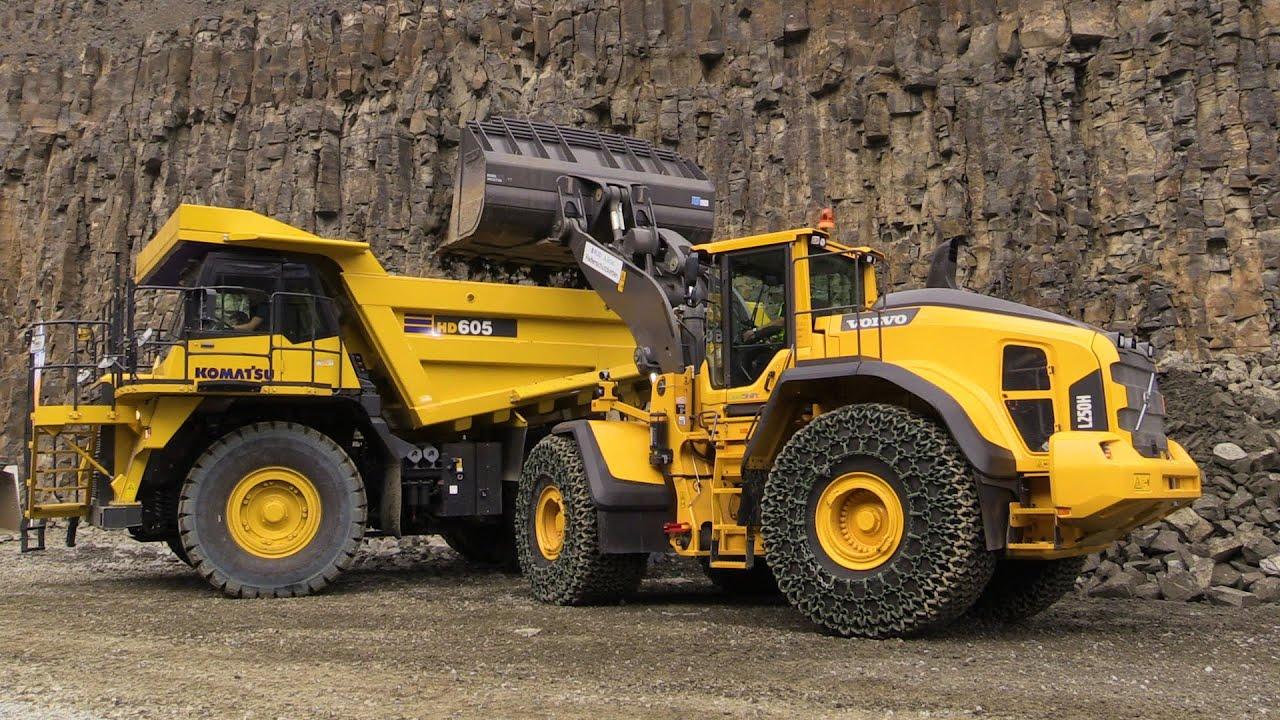 Volvo L250H Wheelloader Loading Komatsu HD605 Mining Tr