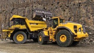Volvo L250H Wheelloader Loading Komatsu HD605 Mining Truck Demo @ Steinexpo 2014