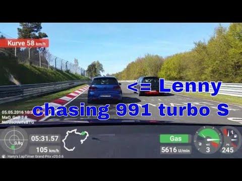 Golf 7 R & Golf 6 R [Lenny] chasing 991 turbo S | Nordschleife 05.05.2016 | Battle in heavy Traffic
