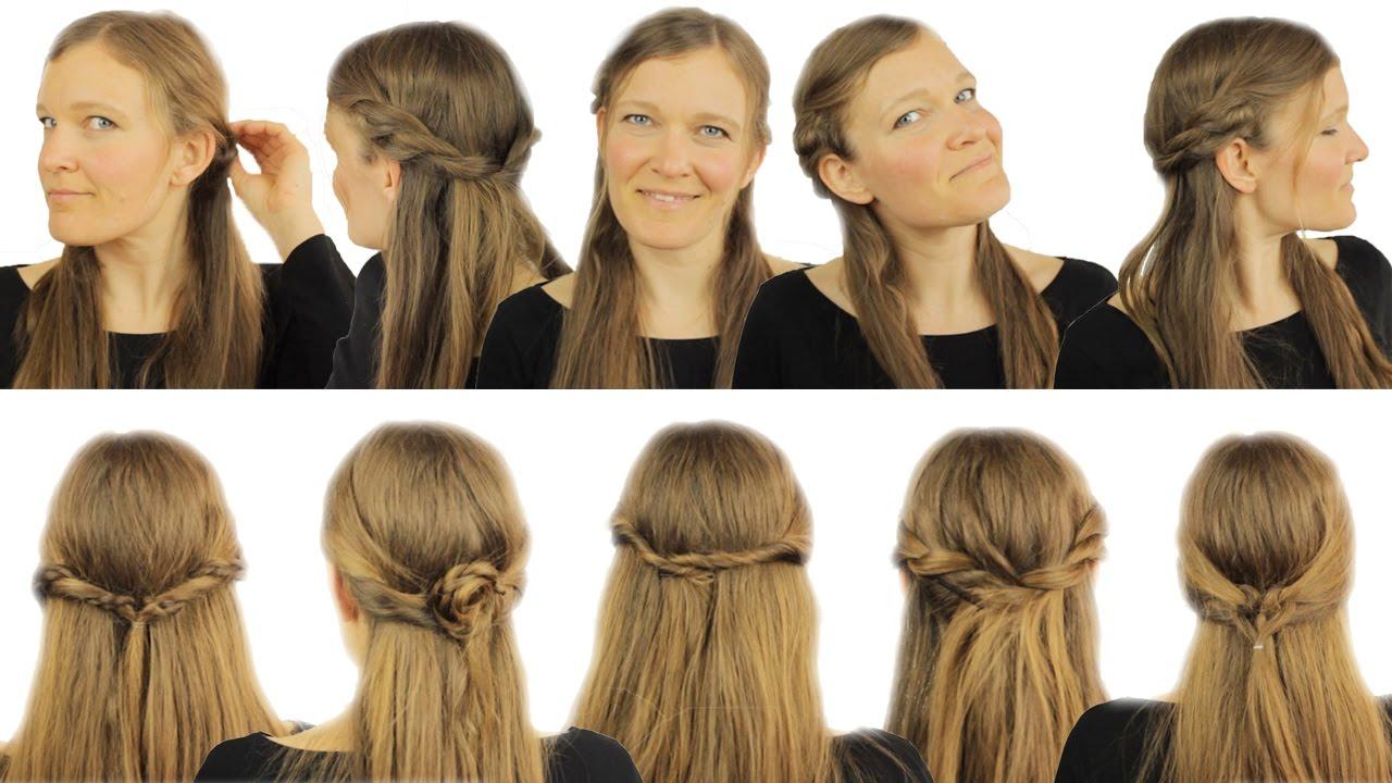 6 Schnelle FRISUREN Für Halb Offenes Haar ♡ Easy DIY YouTube