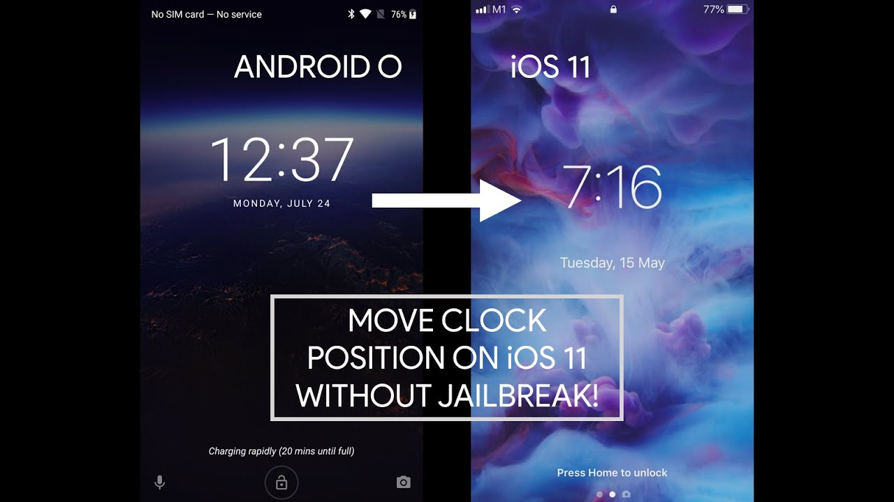[DOESN'T WORK] Move Clock Position On iOS 11/12 Lock Screen Like Android (  No Jailbreak )