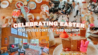 EASTER PEEP HOUSES + EGG HUNT IN THREE STORY CABIN   FAMILY VACAY 2021