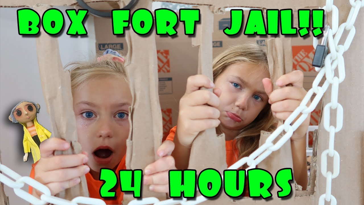 Box Fort Jail For 24 Hours with Creepy Coraline