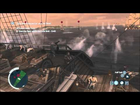 Raiding the Prospector - Privateer Naval Mission - Sink the fleet in 30s - Assassin's Creed 3
