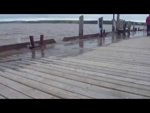 Wharf overwash at Newport Landing, Nova Scotia at high tide (~3:30 pm 11 Sept 2014)