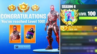 Golpeé el NIVEL 100 en LA TEMPORADA 6.. entonces esto sucedió!! RECOMPENSAS SECRETAS NIVEL 100 (Fortnite Battle Royale)