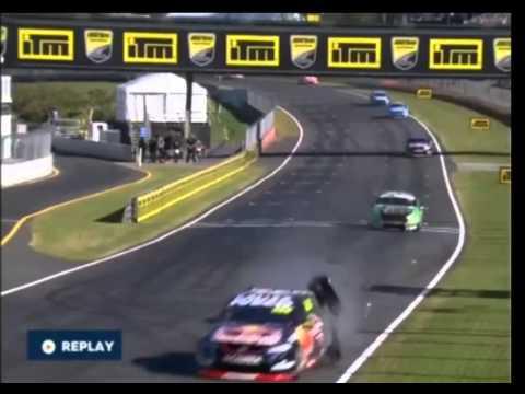 Craig Lowndes Blows Tire Fast Crash Auckland v8 Supercars 2015