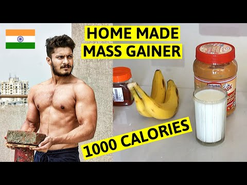 Homemade MASS GAINER SHAKE for Muscle Mass & BULKING (1000 Calories) | Indian Bodybuilding Diet 2020