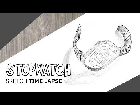 Realistic stopwatch pencil sketch tutorial thumbnail
