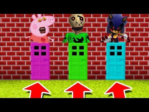 Minecraft PE : DO NOT CHOOSE THE WRONG DOOR! (Sonic.exe, Peppa Pig & Nightmare Baldi)