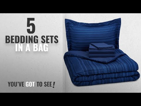 Top 10 Bedding Sets in a Bag [2018]: AmazonBasics 5-Piece Bed-In-A-Bag - Twin/Twin Extra Long, Blue