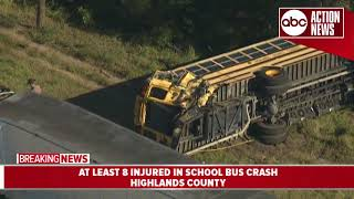 Students, bus driver injured in school bus crash involving tractor trailer in Highlands County