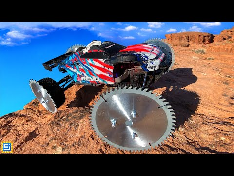 Download Can This RC Truck Drive on Custom Saw Blade Reaper Wheels?