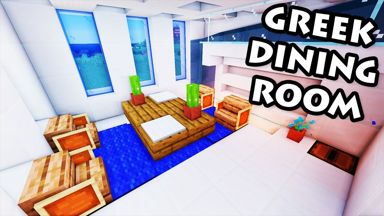 Minecraft tutorial 35 greek house how to build a for Minecraft dining room designs
