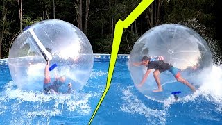 GIANT WATER BALL ORB! RUNNING on Water / Busting my head..
