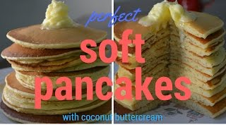 FLUFFY PANCAKES WITH COCONUT BUTTERCREAM