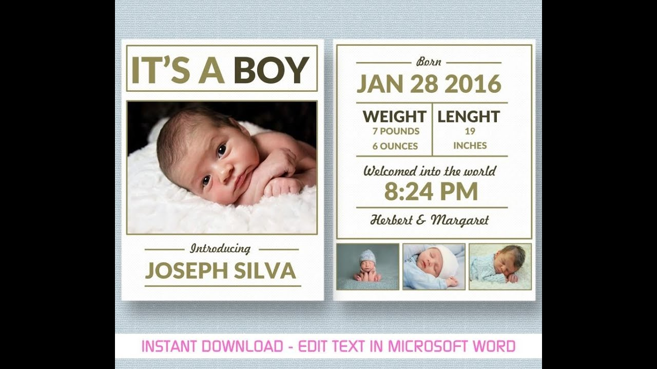 baby boy announcement template for ms word