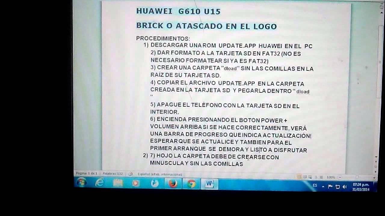 HUAWEI G610 U15 BRICK O ATASCADO EN EL LOGO