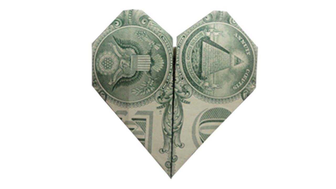 Dollar bill origami heart tutorial origami handmade how to fold a money origami heart you jeuxipadfo Images
