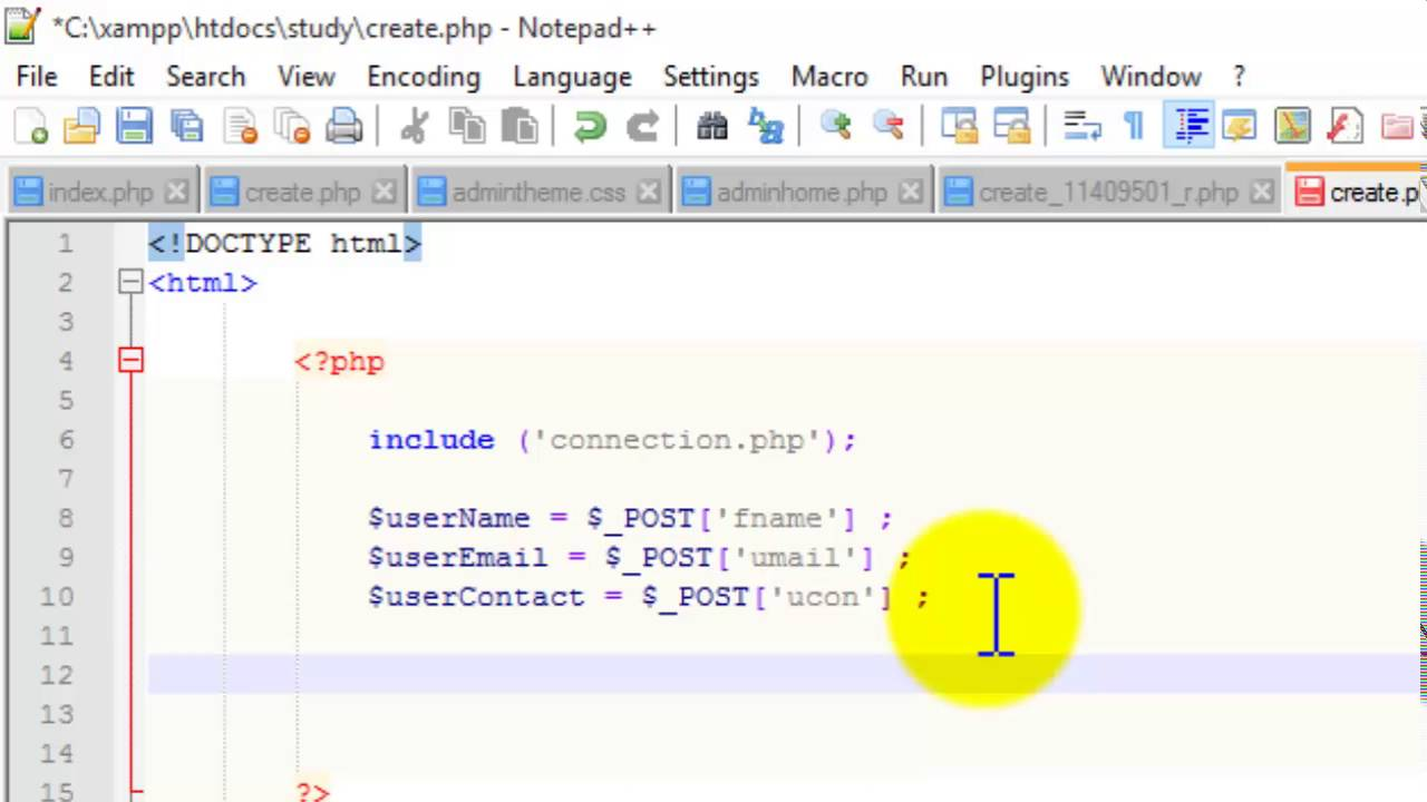 Creating form and passing data in database using Html , CSS and ...