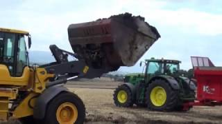John Deere 7280R being Loaded and Spreading Muck